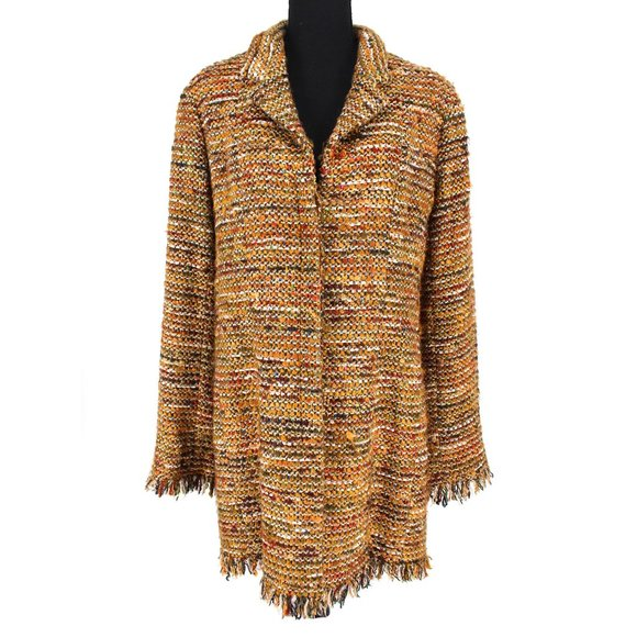 CHANEL 2003 Multicolor Metallic Tweed Fringe Trim Long Blazer Coat size 42 US 10
